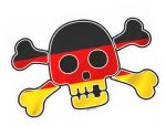 Pirate Style SKULL & CROSSBONES With Germany German Flag Motif External Vinyl Car Sticker 128x84mm